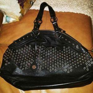 Via Spiga Large Studded Shoulder Handbag In Black